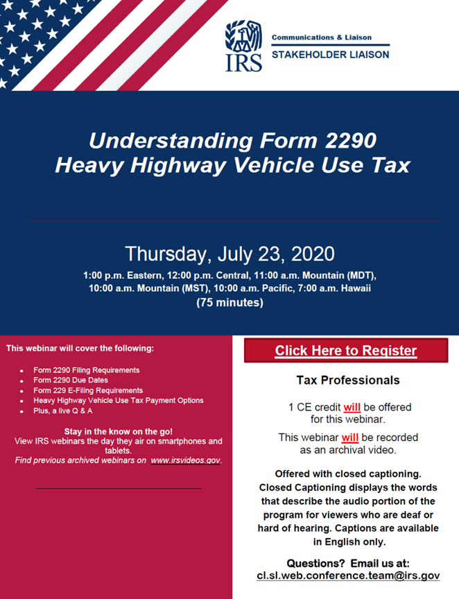 IRS CE Course, Heavy Highway Vehicle Use Tax